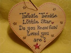 Twinkle Twinkle Little Star Do You Know How Loved You Are? Wooden Heart Sign Ready To Dispatch Pink